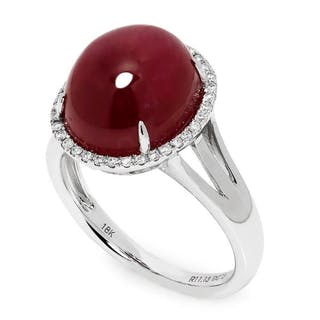 Oval Cabochon Ruby Halo Ring with Diamonds 18K 11.28ctw