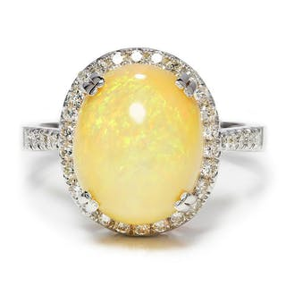 Oval Opal Halo Ring with Diamond Accents 18K 5.50ctw