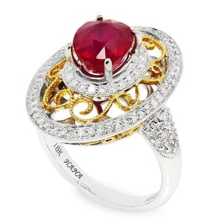 Oval Ruby Filigree Ring with Diamonds 18K 3.41ctw
