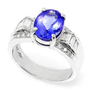 Oval Tanzanite Ring with Diamonds 18K White Gold 2.63ctw