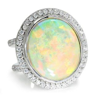 Round Australian Opal Halo Diamond Ring White Gold 14.24ctw