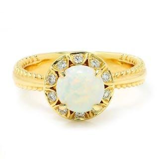Round Opal Halo Diamond Ring 14K Yellow Gold .85ctw