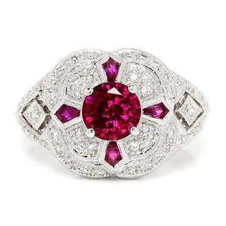 Ruby Filigree Ring with Pentagonal Rubies & Diamonds 18K