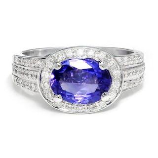 Sideways Oval Tanzanite Halo Ring with Diamonds White Gold