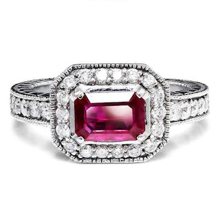 Sideways Ruby Halo Engagement Ring with Diamonds 14K 1.50ctw