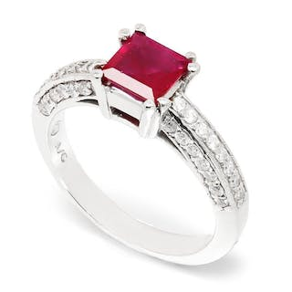 Square Ruby Solitaire Ring with Diamonds 14K 1.27ctw