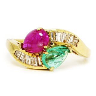 Vintage Emerald & Ruby Ring with Diamonds 18K 2.58ctw