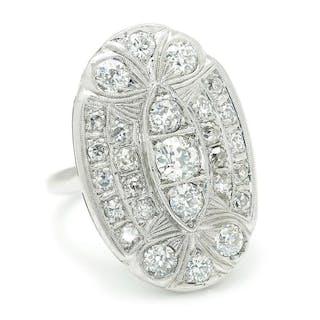 Vintage European Diamond Oval Ring 14K White Gold 1.50ctw