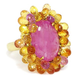 Vintage Pink Sapphire Ring with Briolette Sapphire's 18k 27CTW