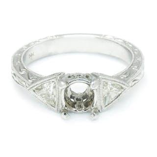Diamond 3-Stone Engagement Ring Semi Mount Setting .50ctw