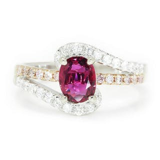 Oval Ruby Swirl Ring with Pink Diamonds 18K 1.58ctw