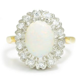 Vintage Opal Halo Ring with Diamonds 14K Two Tone Gold
