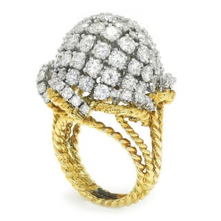 Vintage Diamond Cluster Dome Ring 18K Platinum 7.00ctw