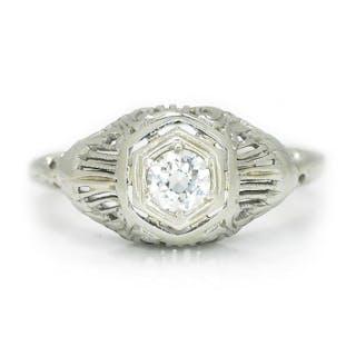 Vintage Old European Diamond Solitaire Ring 14K White Gold