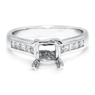 Princess Diamond Semi Mount Engagement Ring White Gold