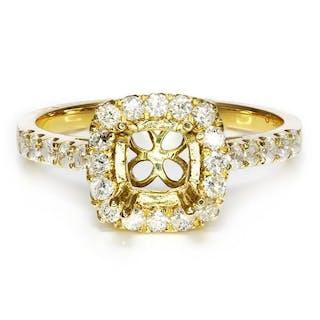 Round Diamond Halo Semi Mount Engagement Ring Setting 14k Yellow Gold .61ctw