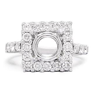 Round Diamond Square Semi Mount Engagement Ring Setting