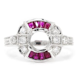 Ruby Semi Mount Engagement Ring with Diamonds 18K Fits 3/4ct