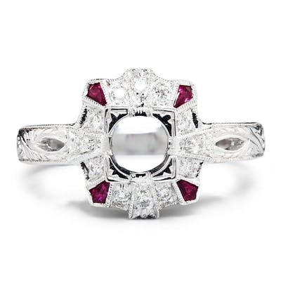 Ruby Semi Mount Ring Setting with Diamonds 18K