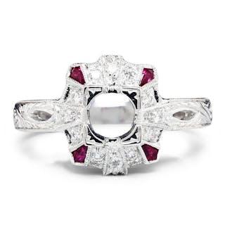 Ruby Semi Mount Ring Setting with Diamonds 18K