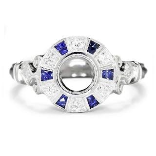 Sapphire Semi Mount Engagement Ring Setting with Diamonds