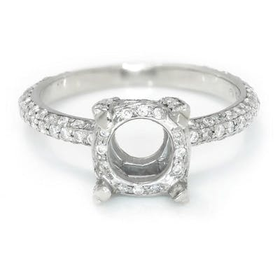 Round Diamond Semi Mount Engagement Ring Setting 14K .40ctw