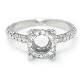 Round Diamond Semi Mount Engagement Ring Setting 14K .40ctw