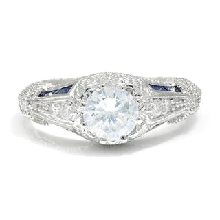 Vintage Reproduction Engagement Ring Setting with CZ