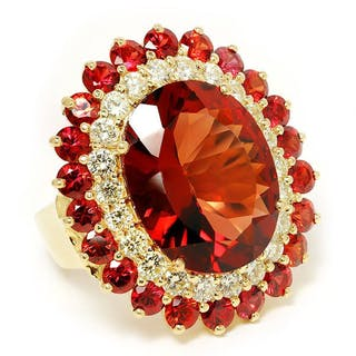 Vintage Garnet Cocktail Ring with Diamond's & Garnet's in 14kt Yellow
