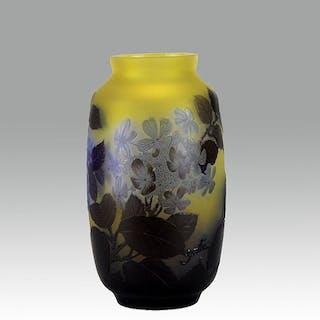 Gallé Blue Flower Vase