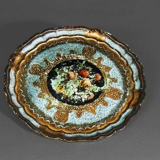 The Tattooist Elizabeth - Rose Patterned Florentine Papier Mache Tray