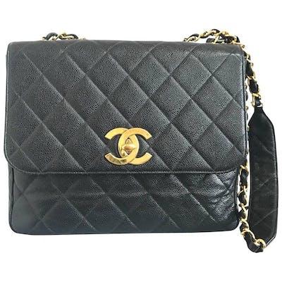 Vintage Chanel classic large black caviar leather 2.55 square shape