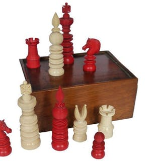 William Lund Chess Set, Mid 19th Century