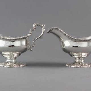 An Exceptional Pair of George III Silver Sauce Boats London 1771, William Skeen