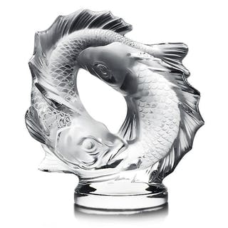 Lalique French Crystal Deux Poissons Pisces Sculpture 17.5 lbs