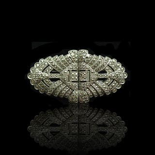 Art Deco Sterling and Marquesite Broach