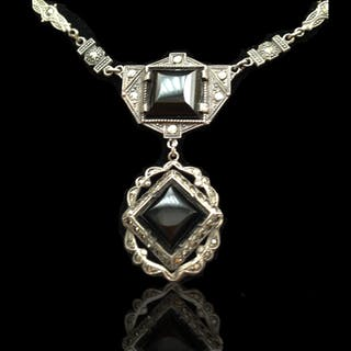 Art Deco Sterling Neclace with Onyx and Markesites