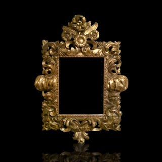 Hand-Carved Wooden Gilt Rococo Frame