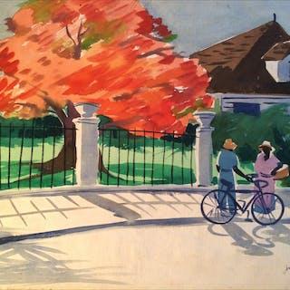 "John Ward (20th century) American artist ""Royal Poinciana, Florida ""circa 1950"