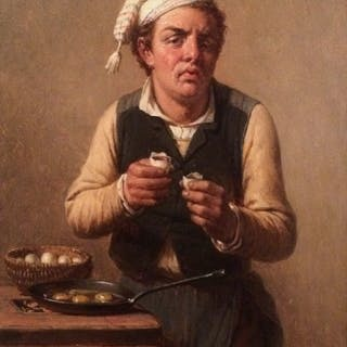 "Francois Verheyden (1806-1890) Belgium Painter of ""Young Baker""circa 1850's"