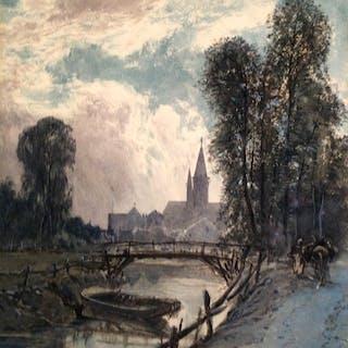 "Octave Alfred Saunier (1842-1889) French Artist ""French Vista""circa 1883"