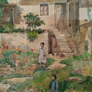 "J.Ambrose Prichard (1858-1905) American Artist "" Children In the Yard,Paris"