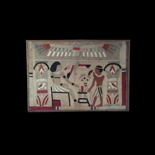 Egyptian Revival Folkart Tapestry