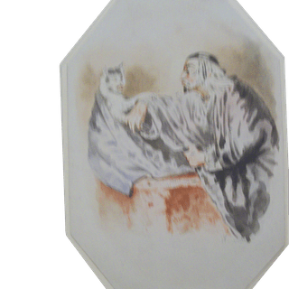 Scholar Talking with Cat watercolor c.1870