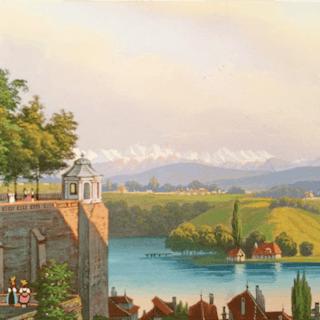 European miniature watercolor people and scenic town vista c.1860