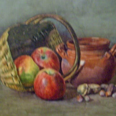 American school watercolor Apples and Nuts c.1880