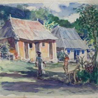 American school artist watercolor titled Brown Walls, Jamaica c.1920