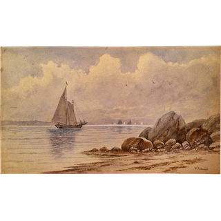 """William George Puddefoot [1842-1925] American Artist Watercolor """"New"""