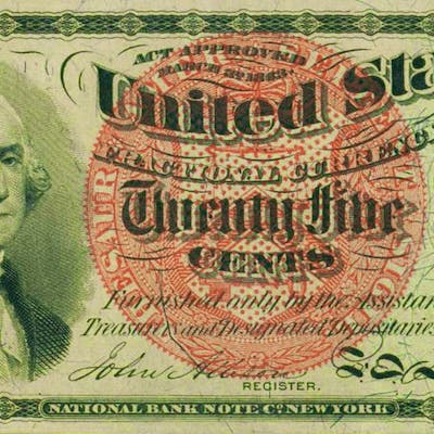 "1863 ""Washington"" Twenty-five Cents Fractional Currency Bank Note"