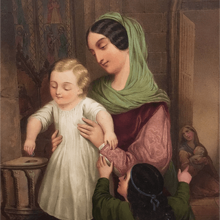"Adolf Theer [ 1811-1902] Austrian artist ""Mother and Child"" 1849"